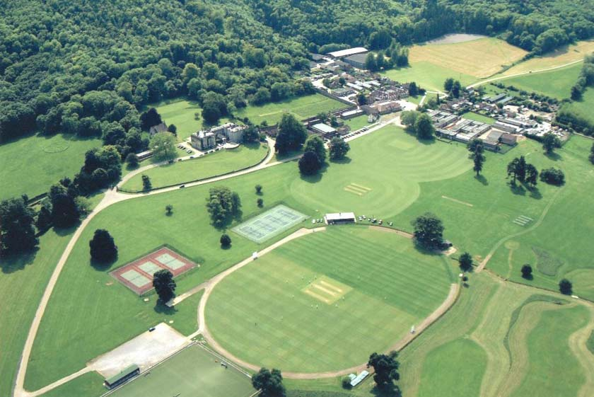 Aerial view of cricket pitch at Seaford College