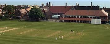 Aerial view of the cricket pitch at Brighton College